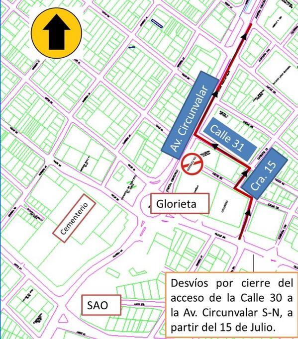 Mapa de los desvios de Monteria