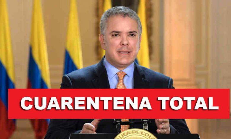 Colombia estará en cuarentena total por 19 días