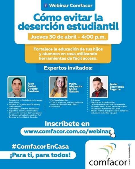 Hoy conferencia de Comfacor, cómo evitar la deserción estudiantil