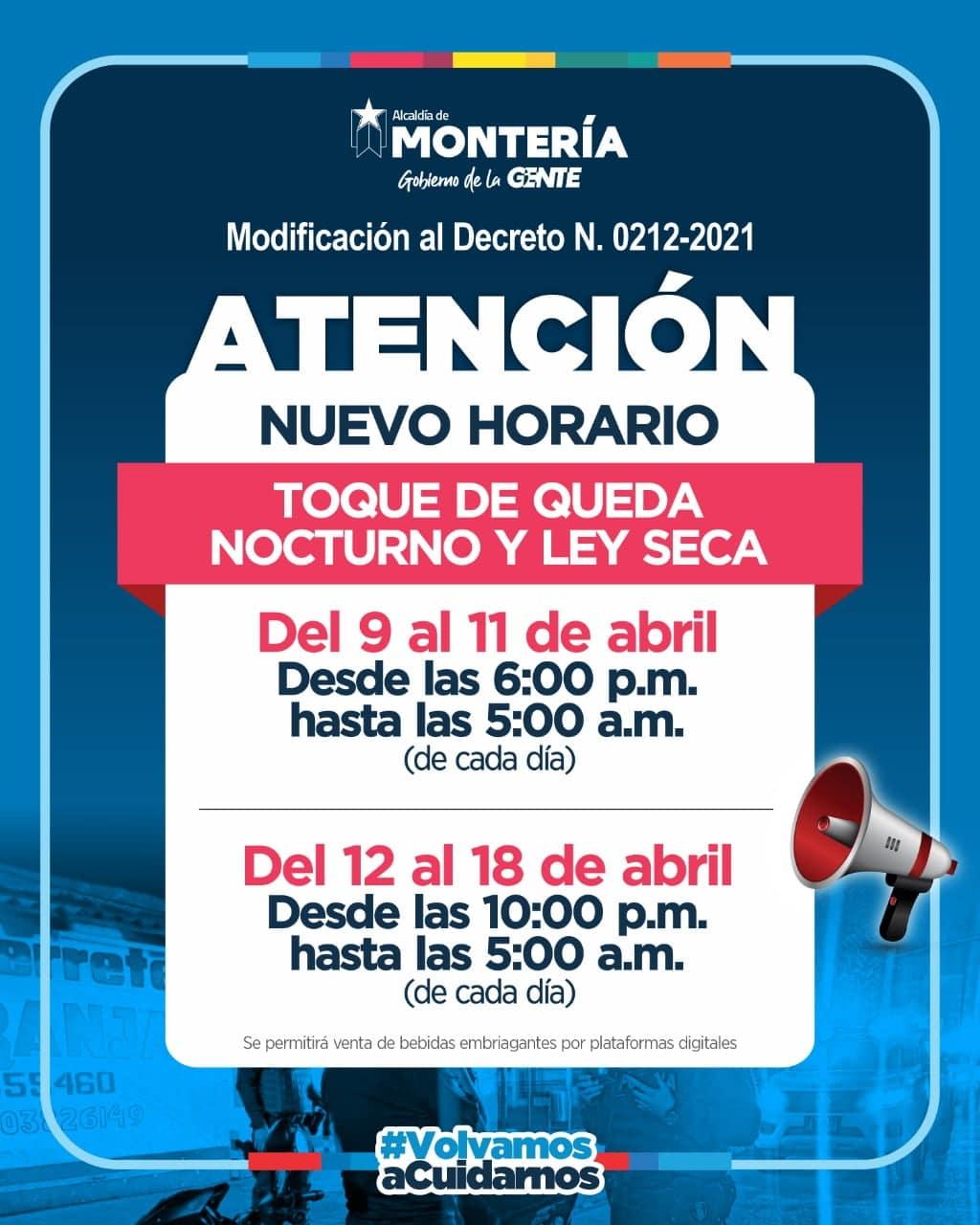 Nuevo horario de toque de queda y ley seca en Montería